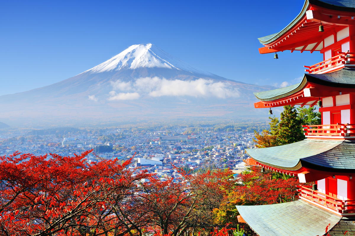 Mount fuji and japanese architecture in autumn thanksgiving