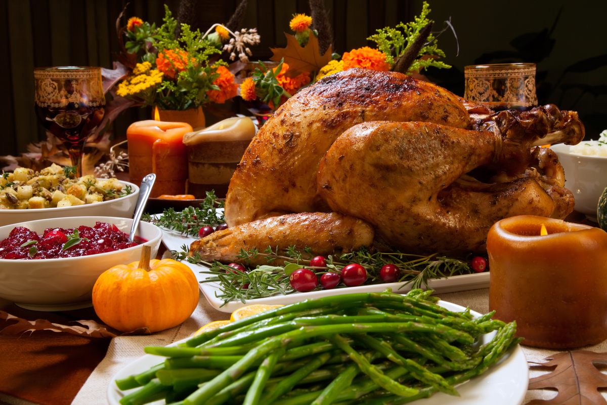 Roast turkey with cranberries and green beans thanksgiving