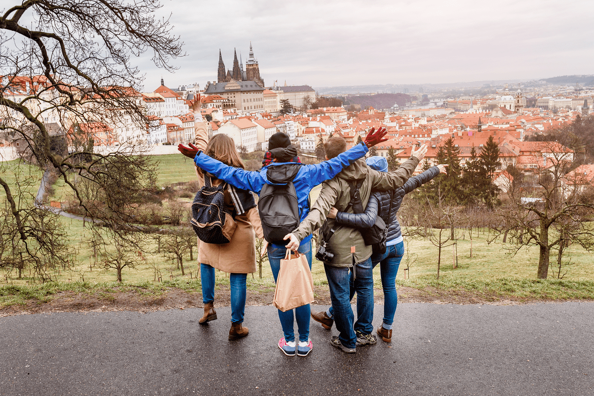Friends sightseeing Prague affordable travel