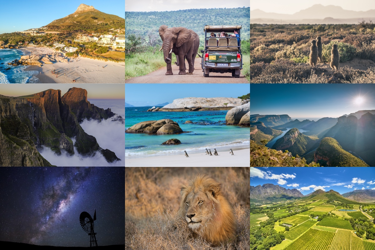 Collage of different types of landscapes in South Africa