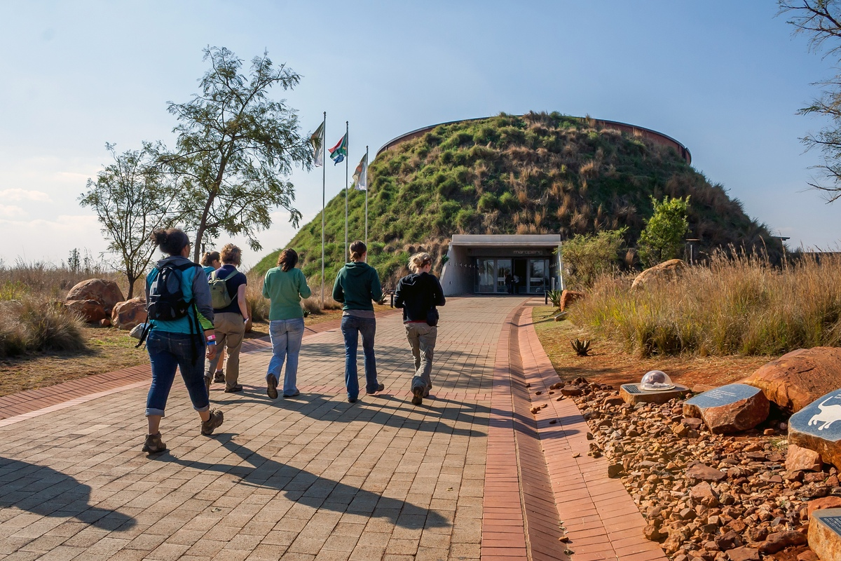 Tourists visiting the Cradle of Humankind in South Africa