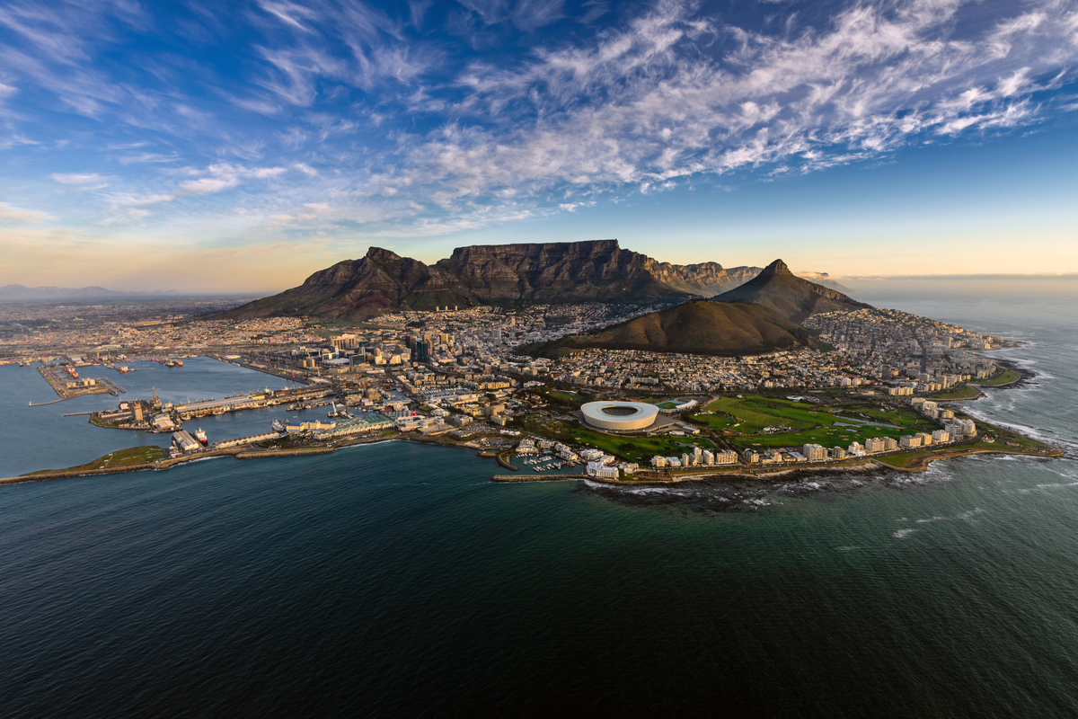 View of Table Mountain and Cape Town city in South Africa