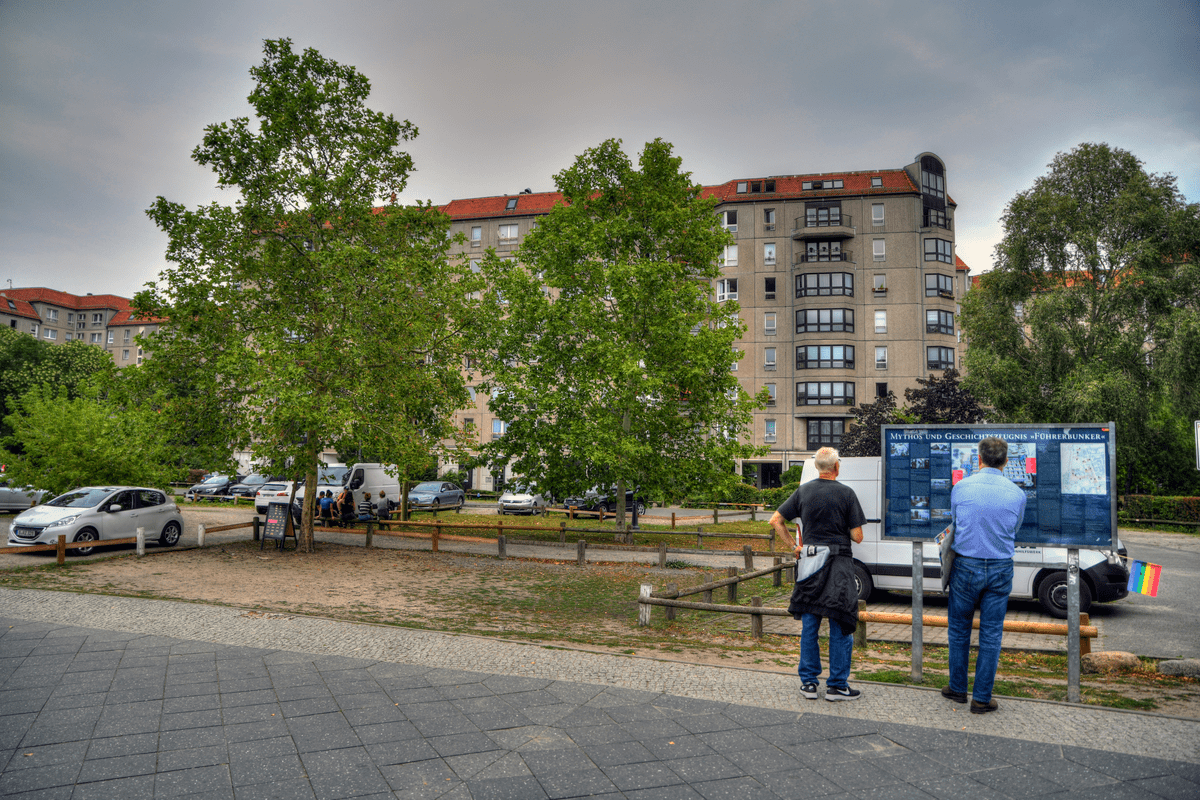 Tourists look at the site of Hitler's former bunker Berlin gems
