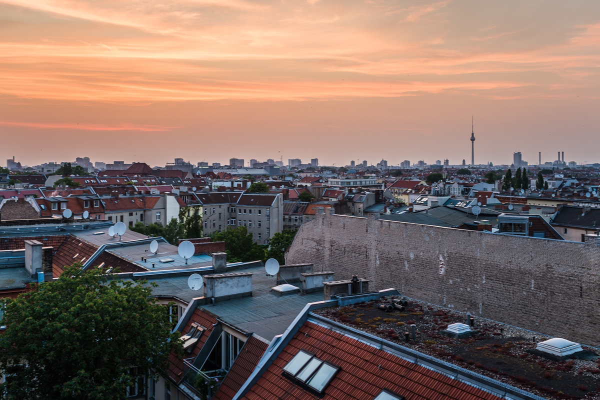 Veiw over Berlin from Klunkerkranich Rooftop Bar Berlin gems
