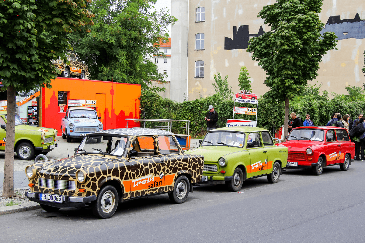 Three colourful trabant cars Berlin gems