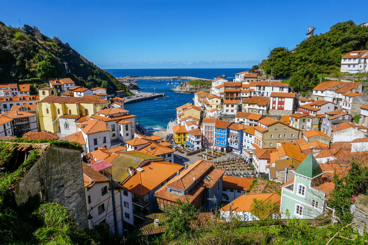 View of port and colourful houses in Cudillero in Spain