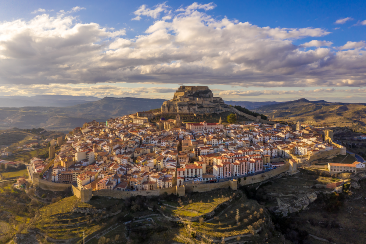 View of castle and town of Morello in Spain