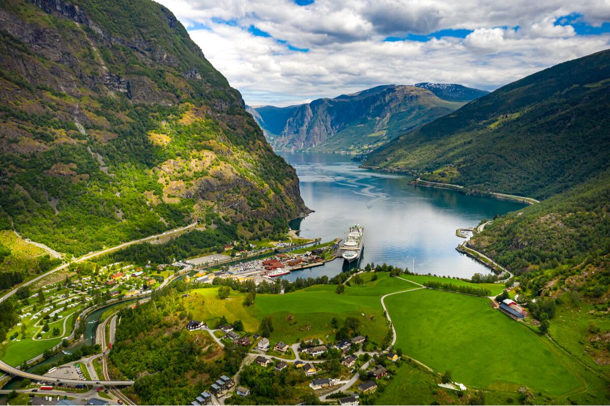 View of Flam and fjords in Norway railway journeys
