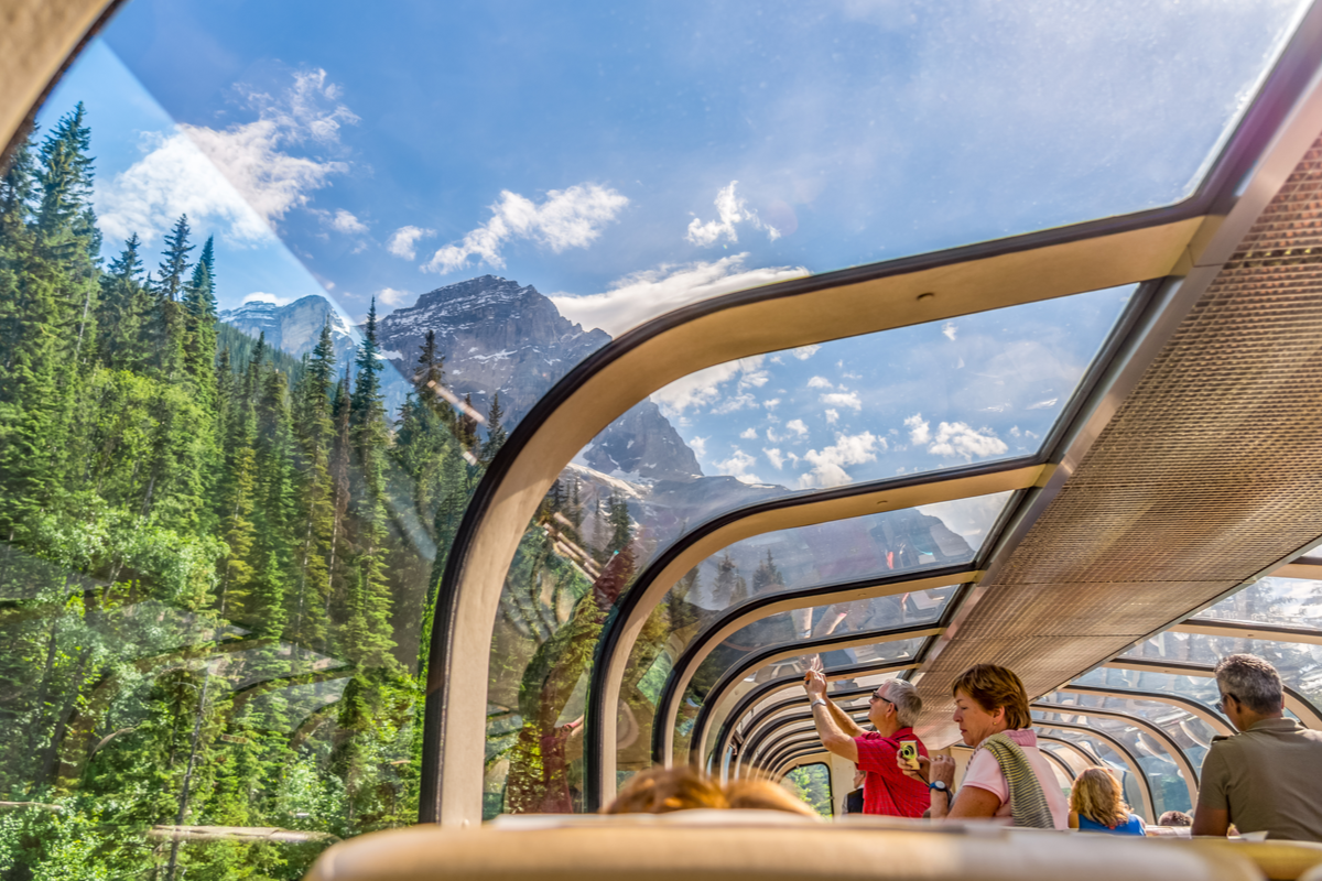 View from Rocky Mountaineer train in Canada railway journeys