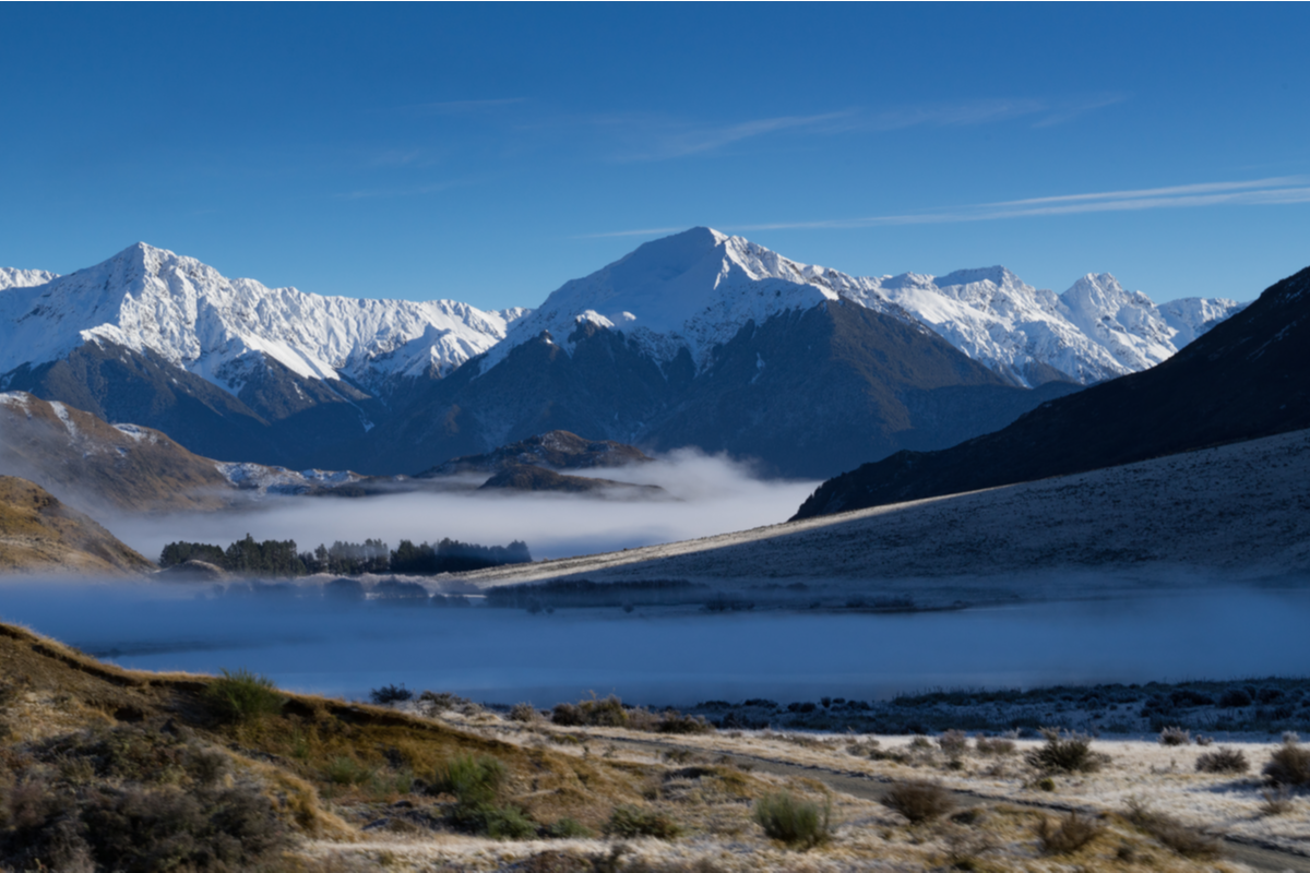 View of southern Alps New Zealand railway journeys
