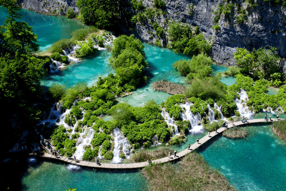Plitvice Lakes aerial view Europe National Parks