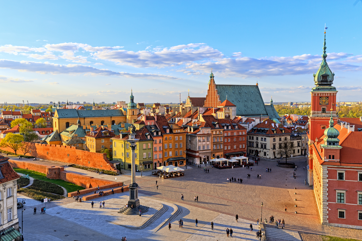 Old Town Market Square in Warsaw, Poland International Women's Day