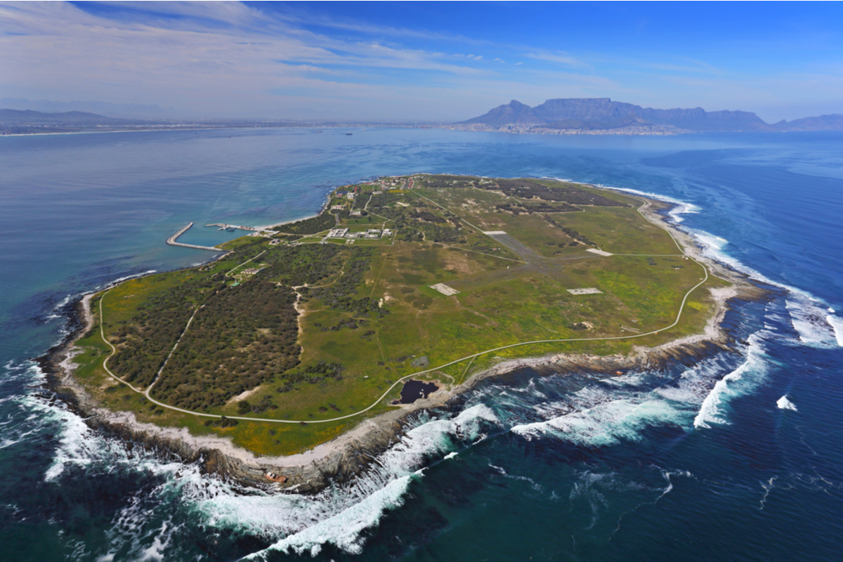 Aerial view of Robben Island Freedom Day
