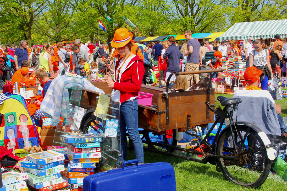 People browsing markets in the Netherlands on King's Day