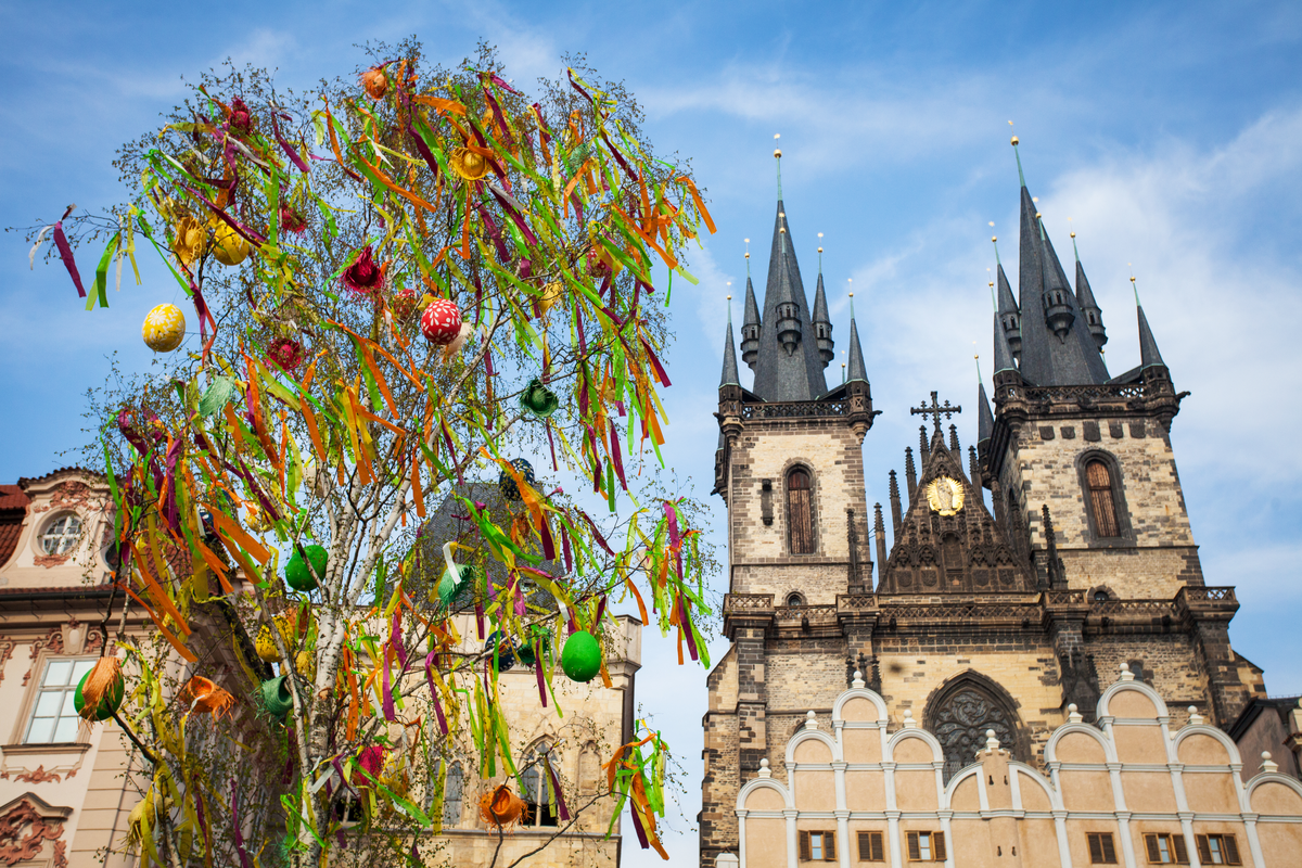 Easter market and tree Old Town Square Prague Easter break