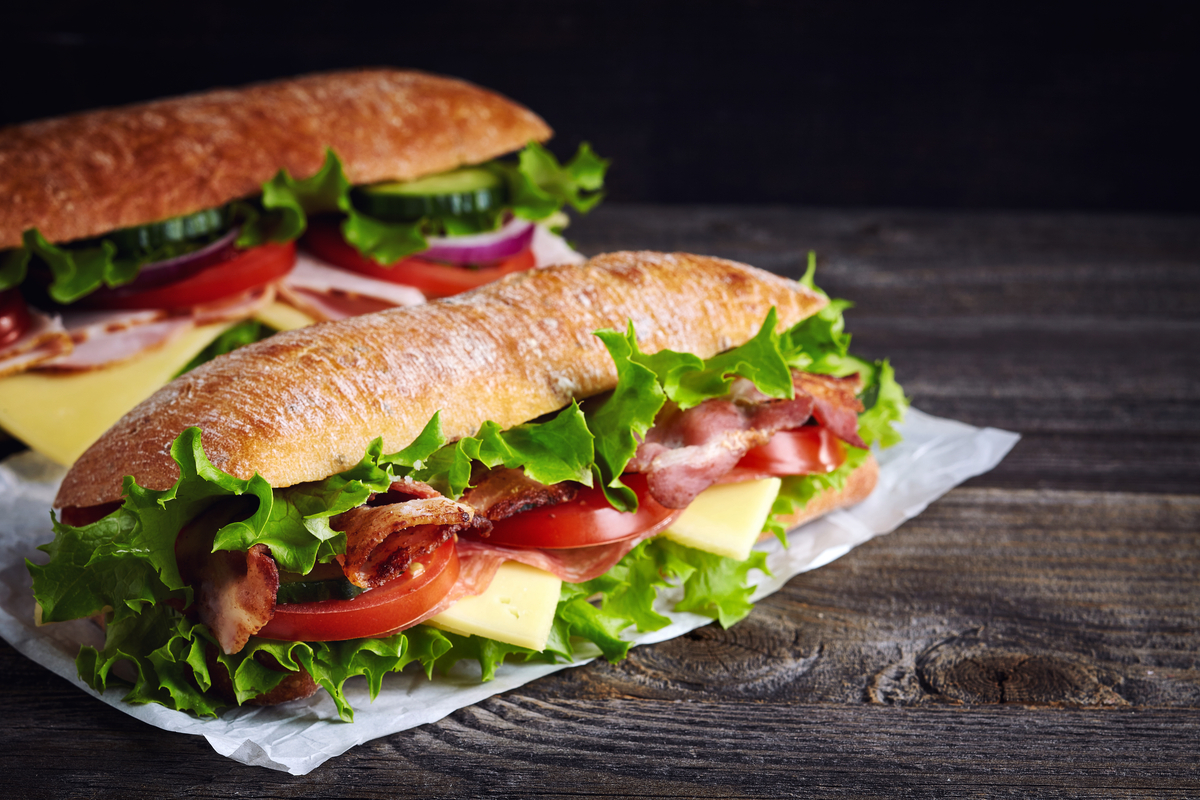 Sub sandwich with lettuce, tomato, cheese world food & drinks