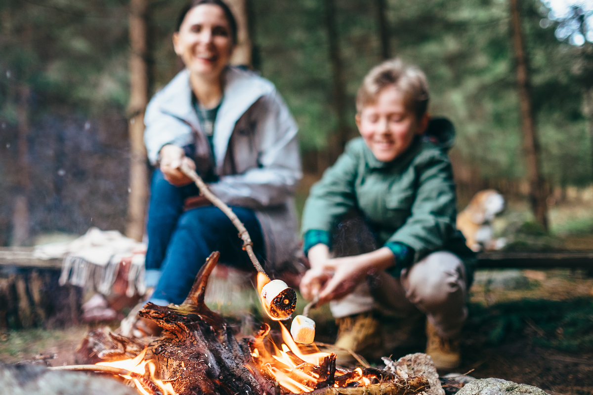 Mother and sun toast marshmallows by campfire