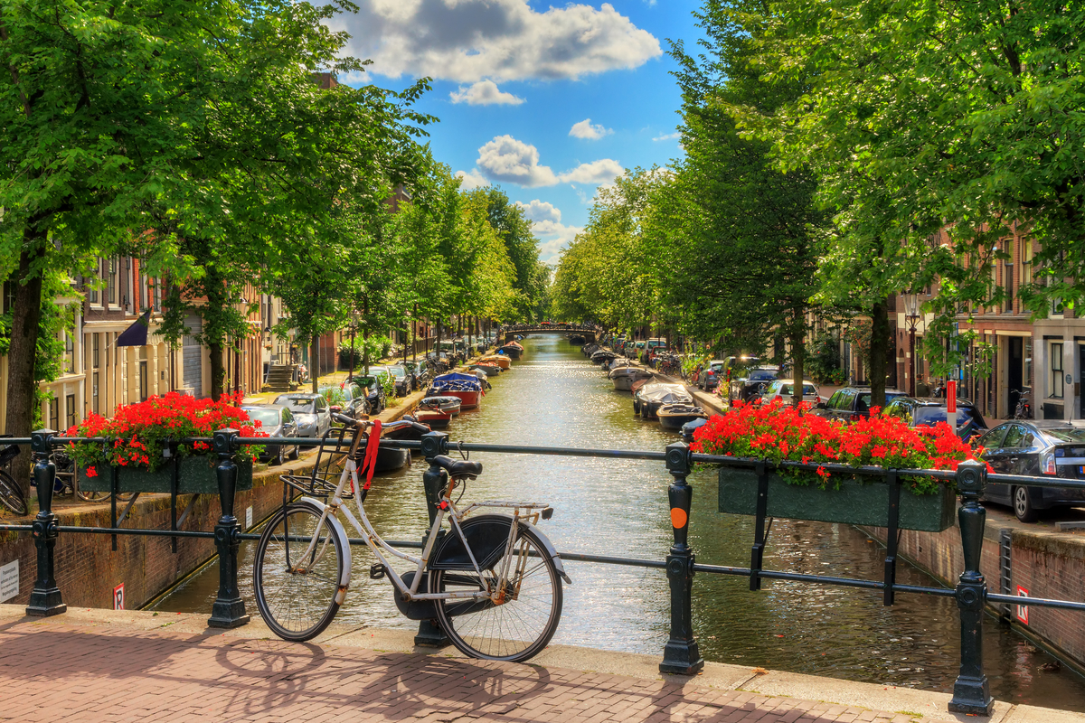 Bicycle and canal in Amsterdam