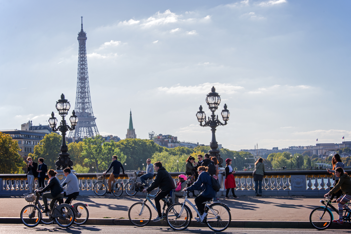 People riding bicycles in Paris France