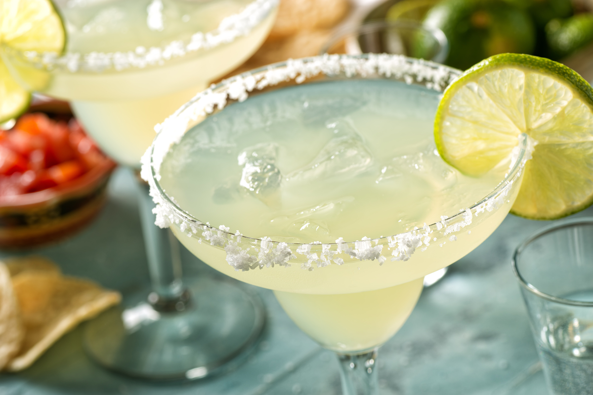 Margarita cocktails with salt and lime