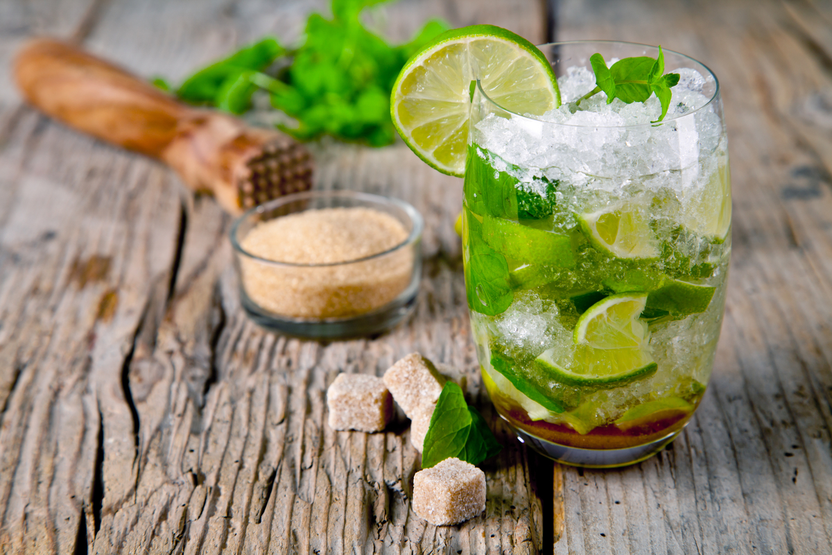 Mojito with fresh mint lime and sugar cocktails