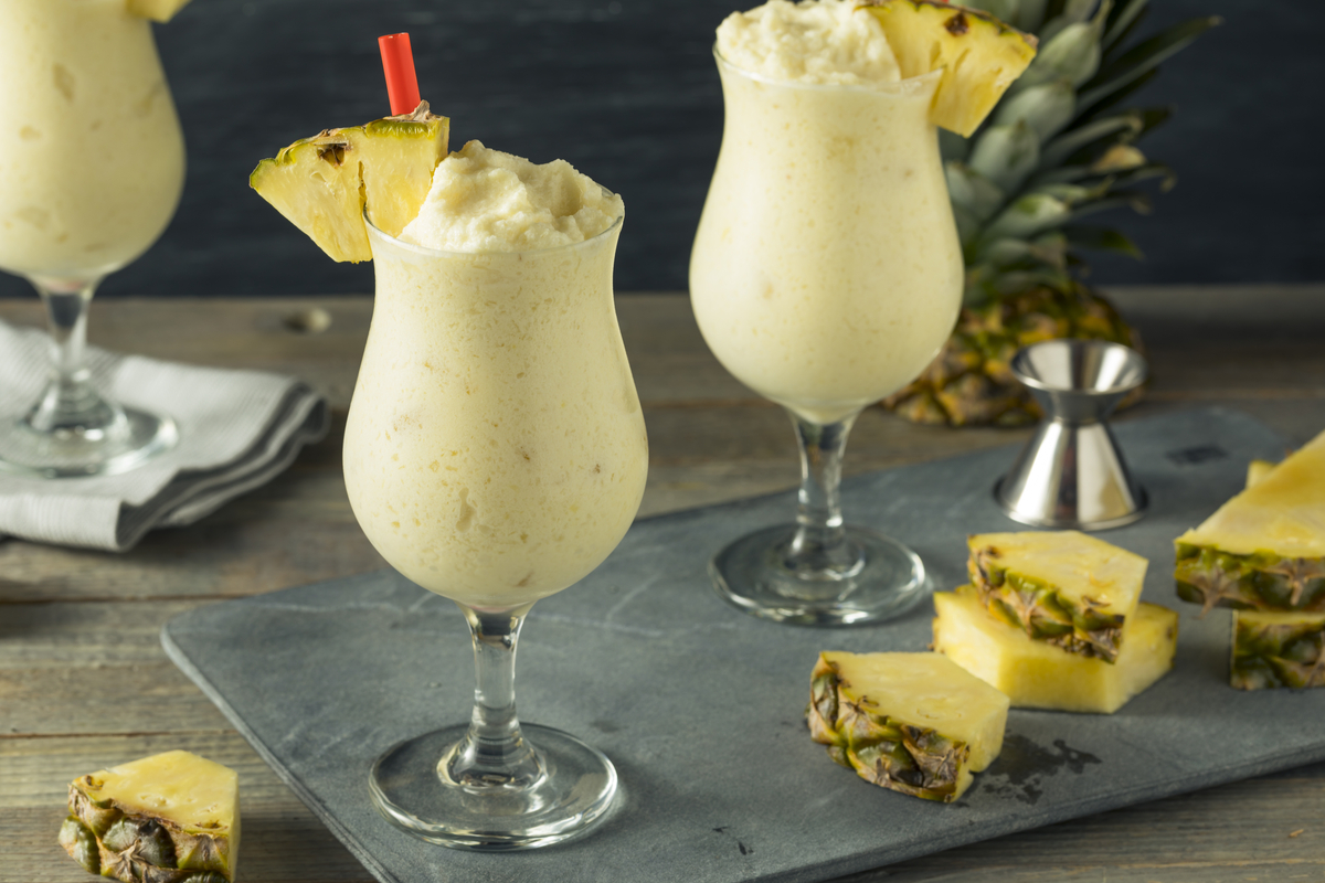 Two glasses of pina colada cocktails