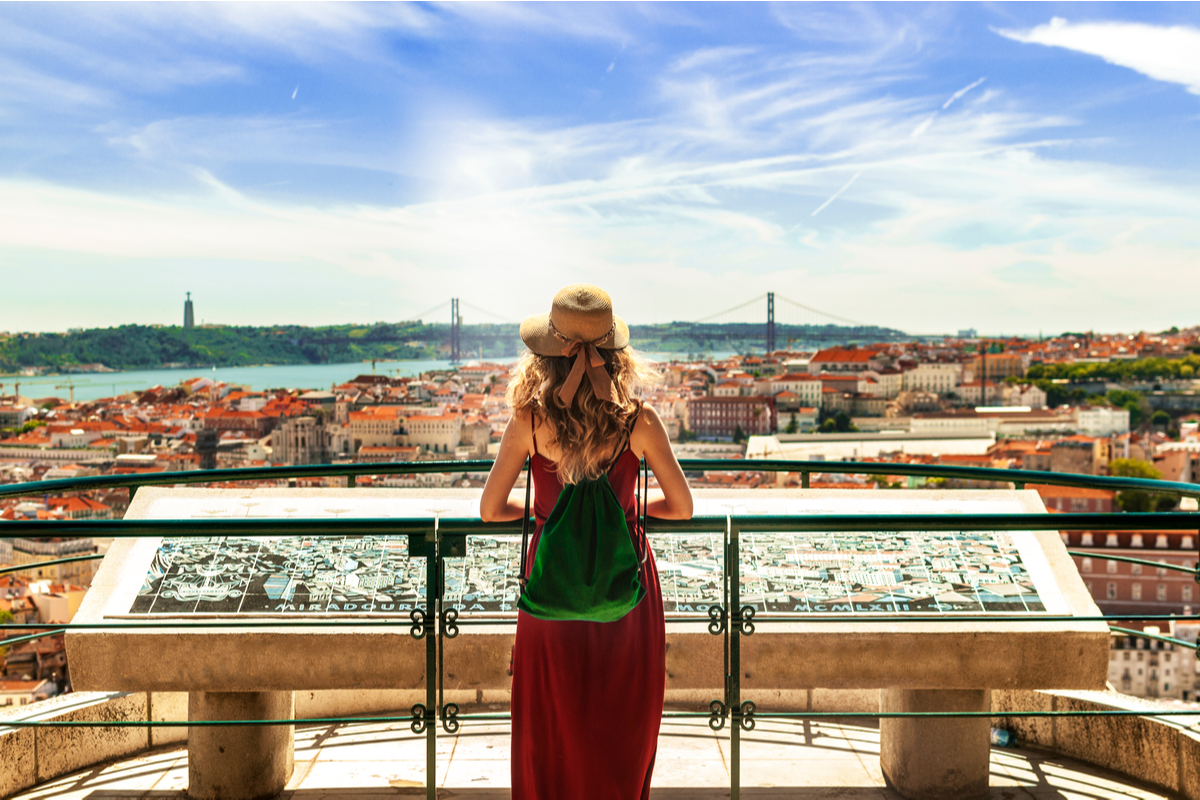 Woman sightseeing in Lisbon World Portugal Day