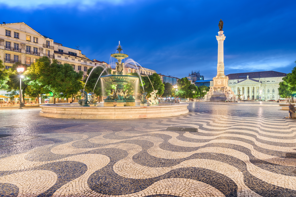 Rossio Square in Lisbon at night World Portugal Day