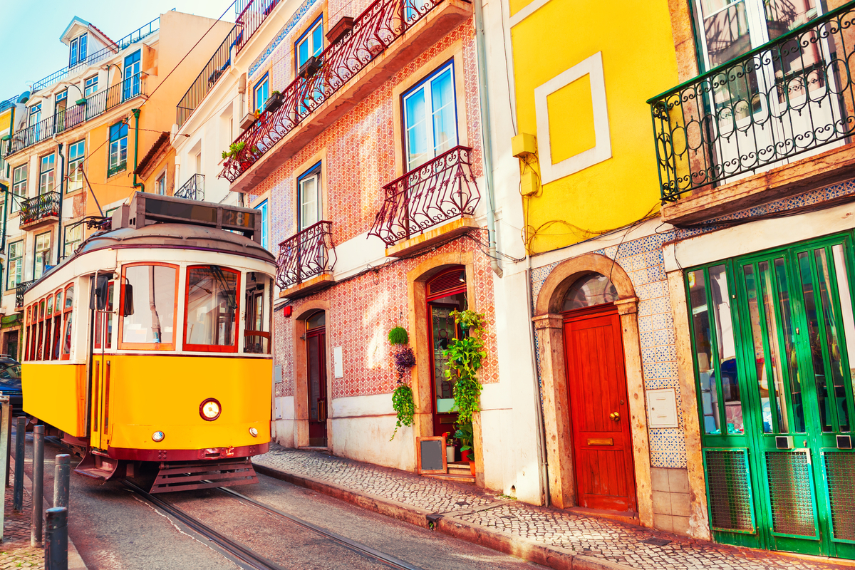 Colourful streets and tram in Lisbon, Portugal