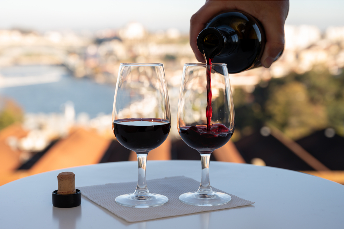 Pouring port wine in Lisbon World Portugal Day