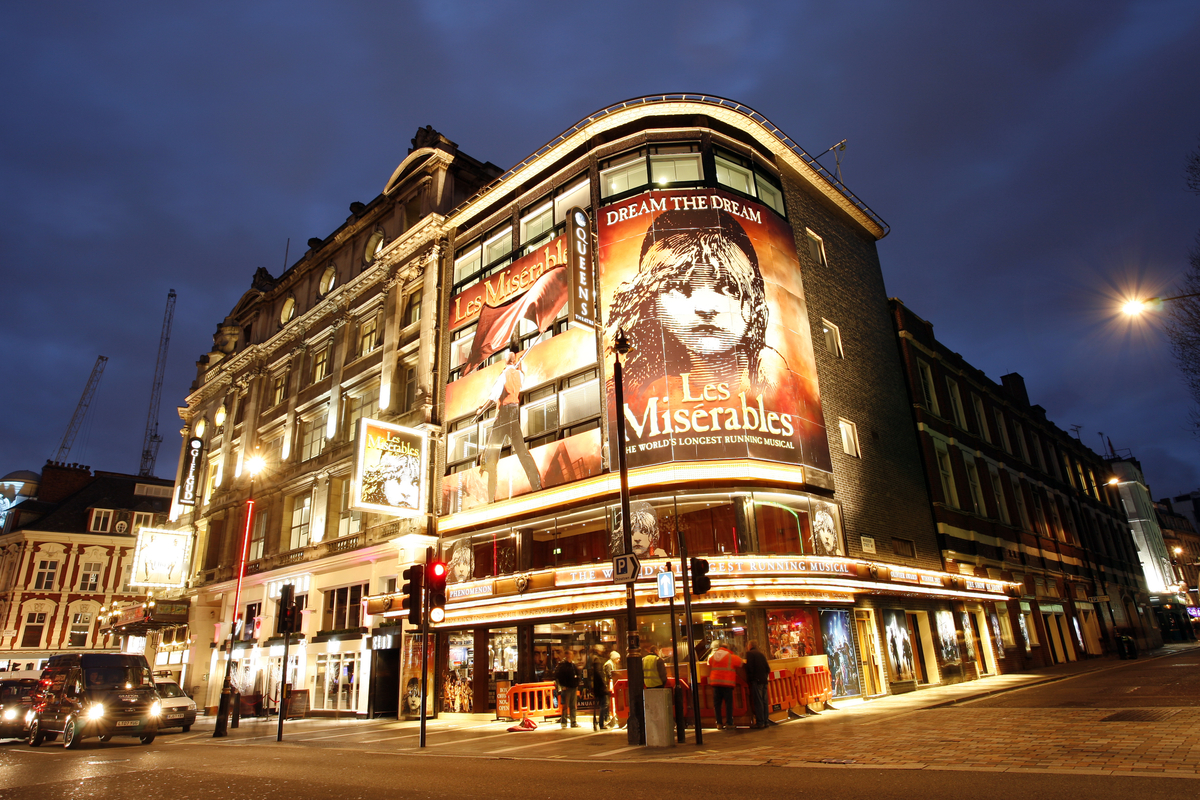 Les Miserables musical advertised in London's West End Music Day