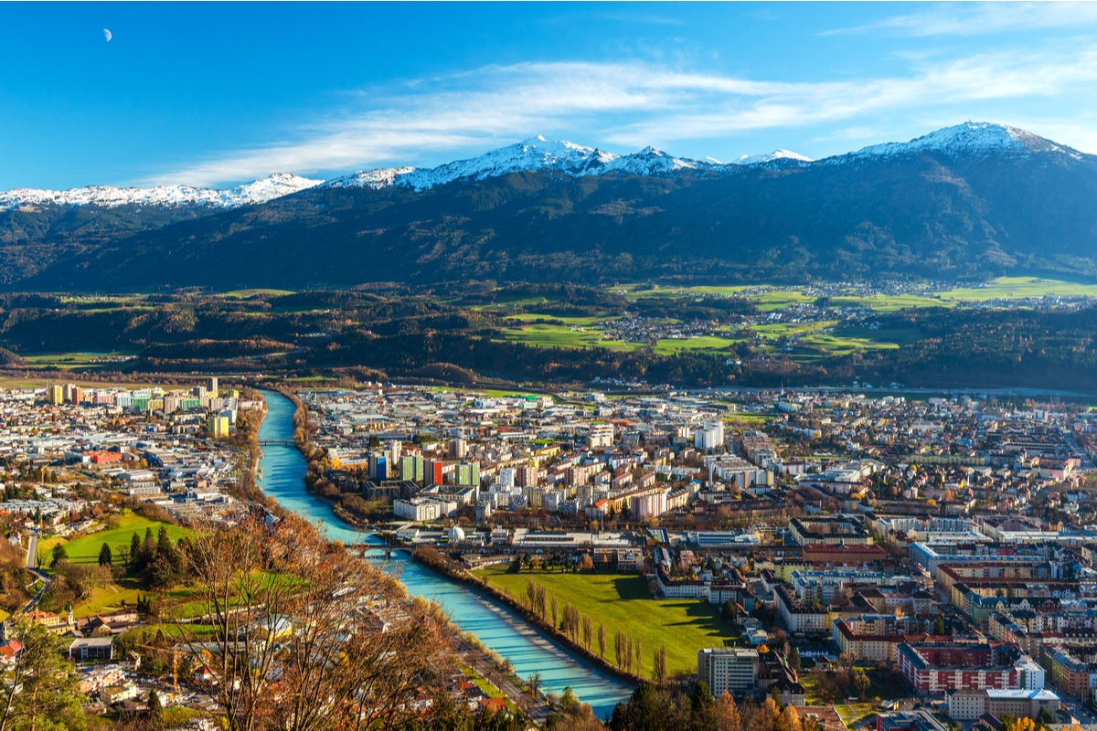 View of Innsbruck Asutria and Tyrol Mountains summer solstice