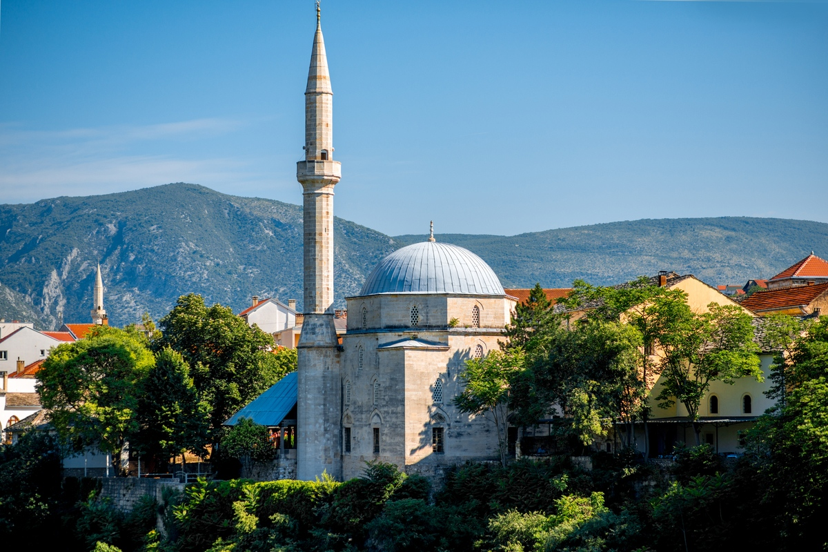 View of Koski Mehmed Pasha Mosque in Mostar in Bosnia and Herzegovina