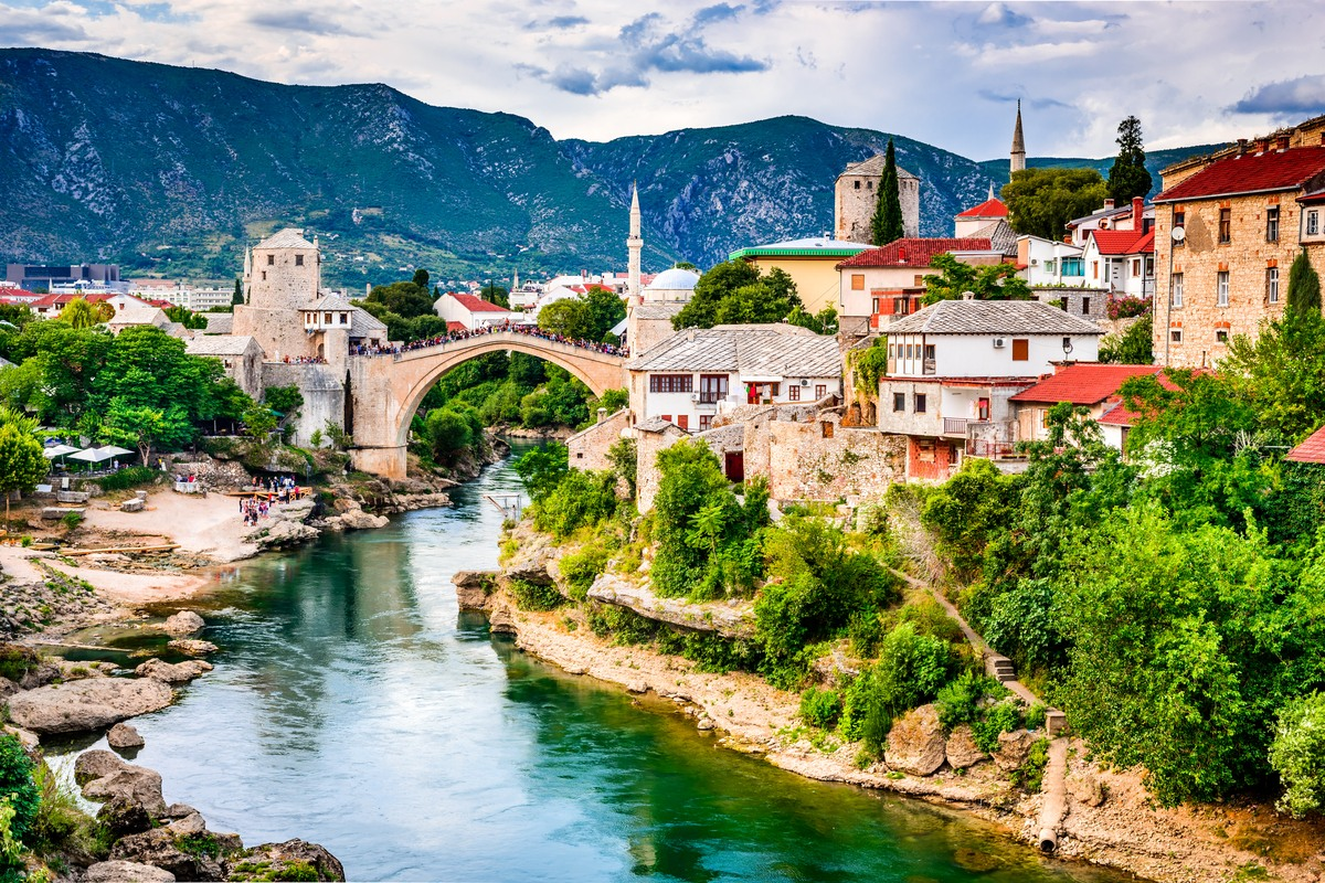 View of Stari Most in Mostar in Bosnia and Herzegovina