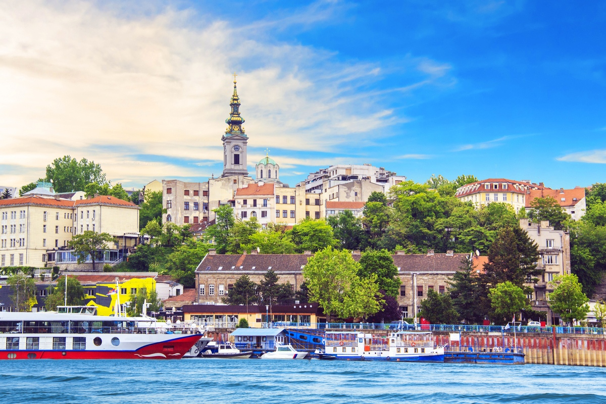 View of Belgrade from the river travelling to Serbia