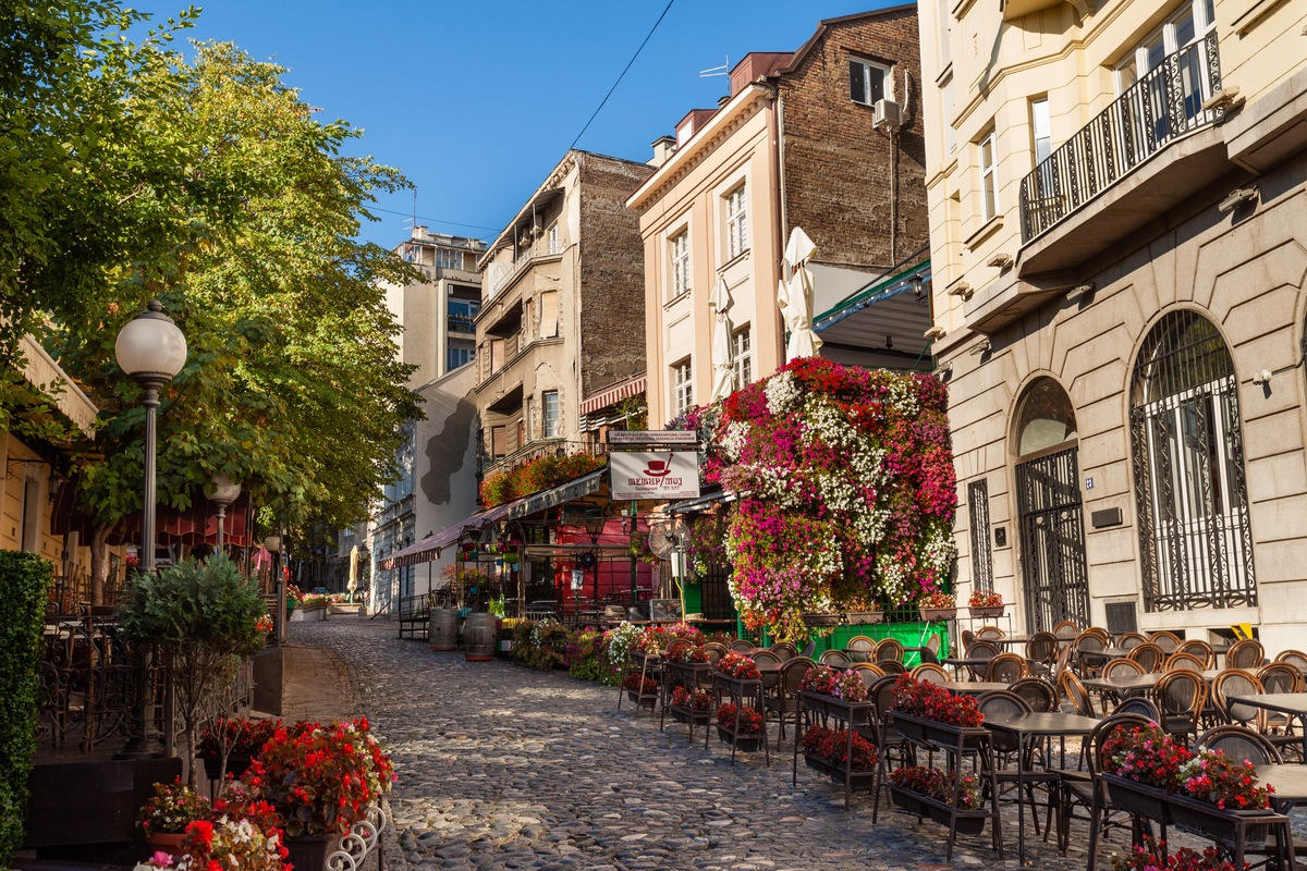 View of picturesque street in Belgrade travelling to Serbia