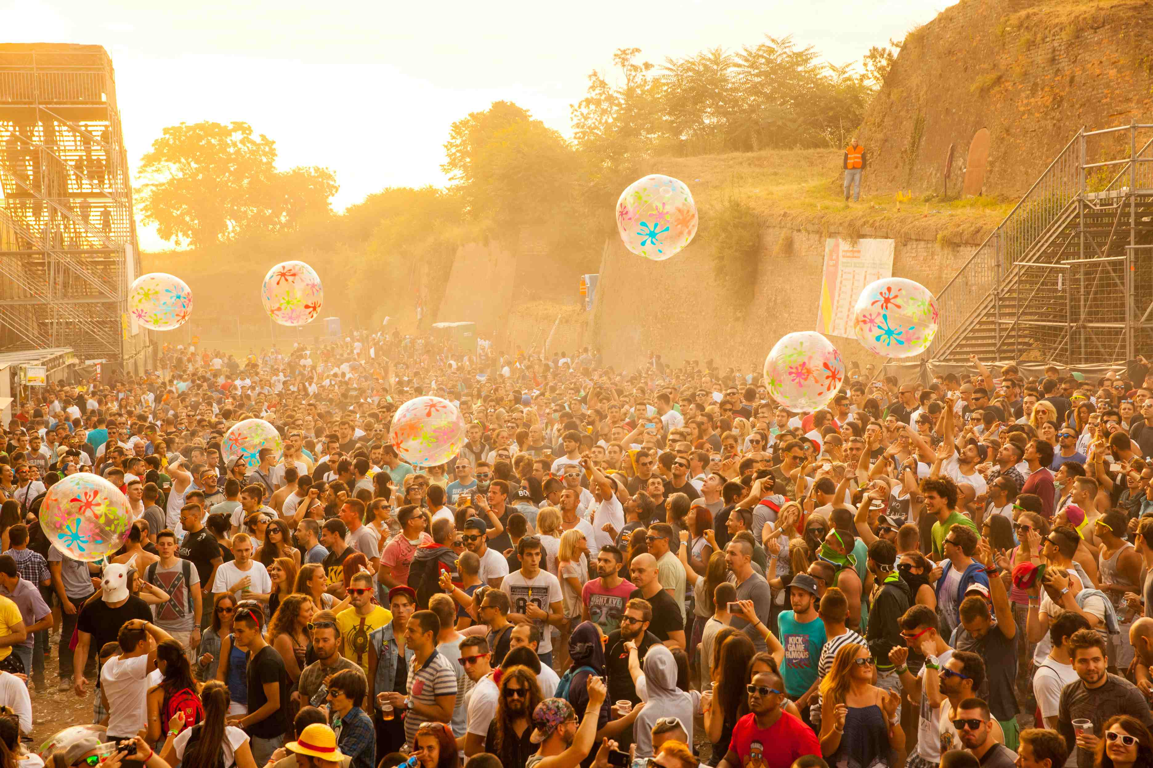 People enjoy the EXIT Festival in Novi Sad travelling to Serbia