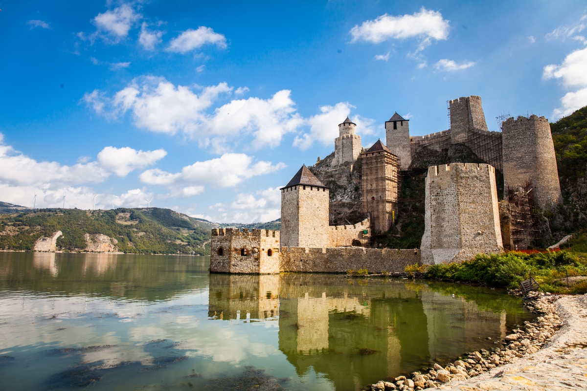 View of Golubac Fortress on the Danube River travelling to Serbia