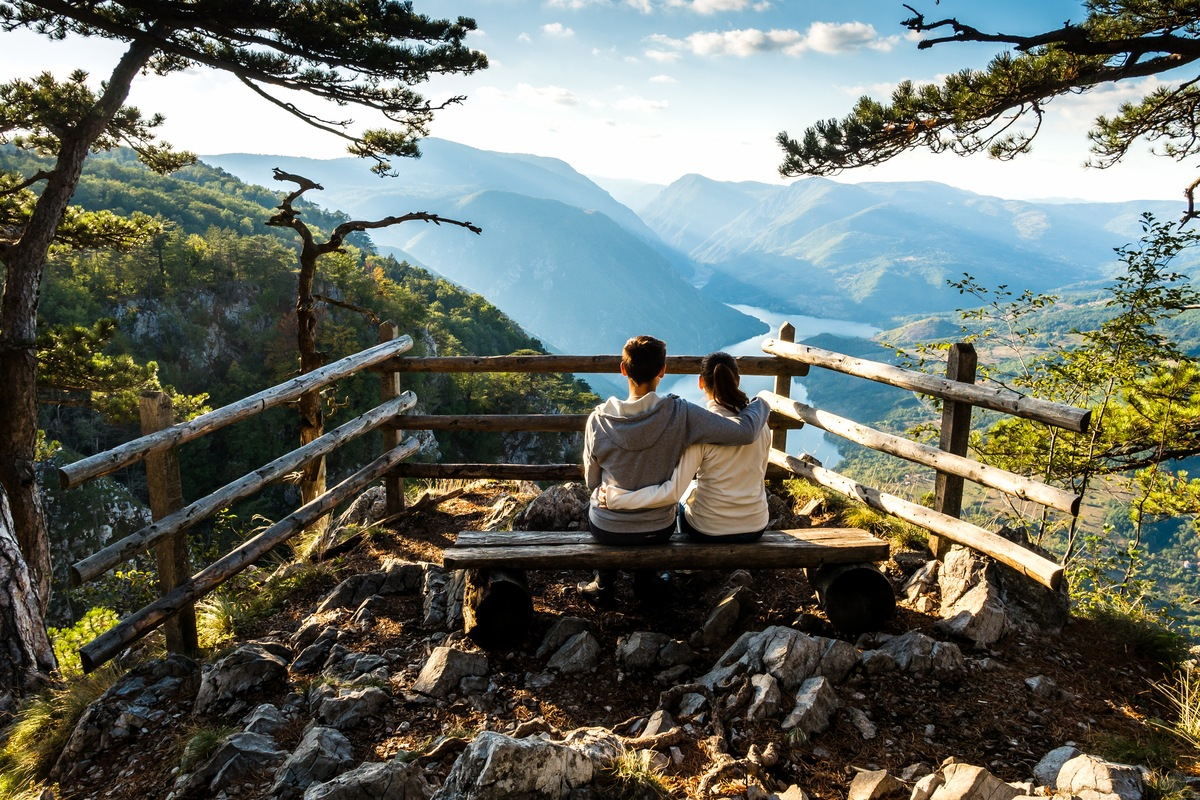 Couple admire view in Tara National Park travelling to Serbia