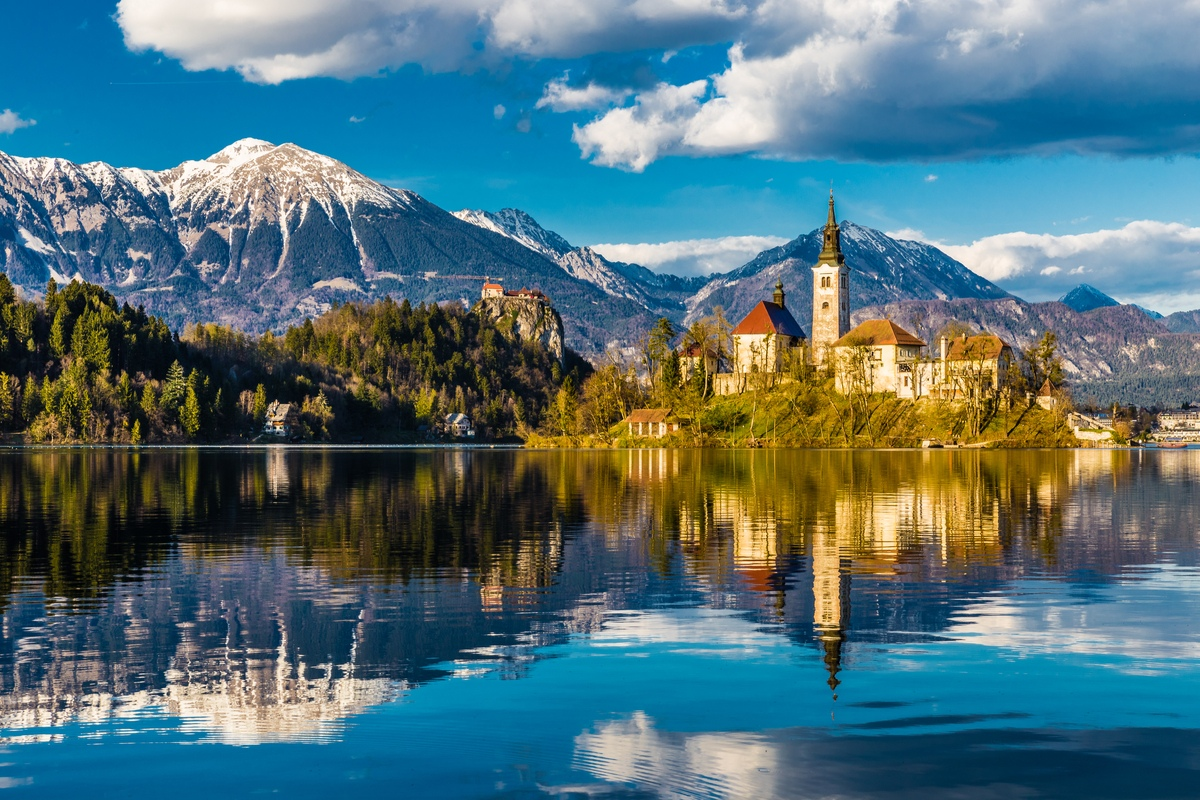 View of Lake Bled and mountains in Slovenia, the Balkans