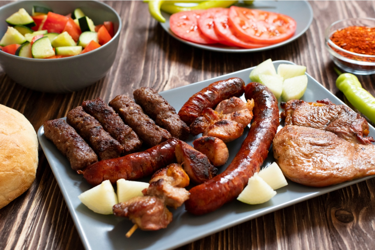 Plate of traditional Serbian grilled meets Balkans