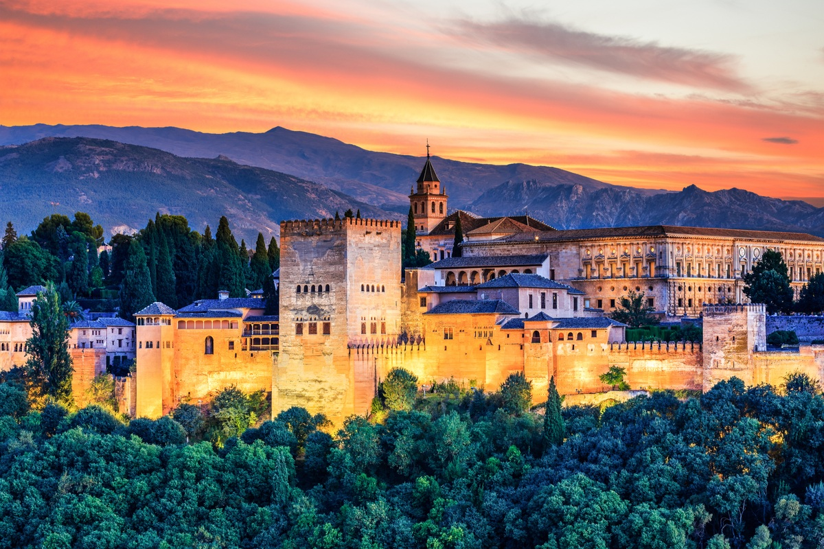 View of Alhambra in Granada, Spain, at sunset