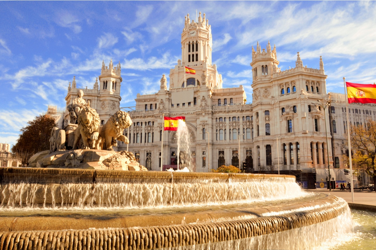 View of Cibeles fountain in Madrid Spain