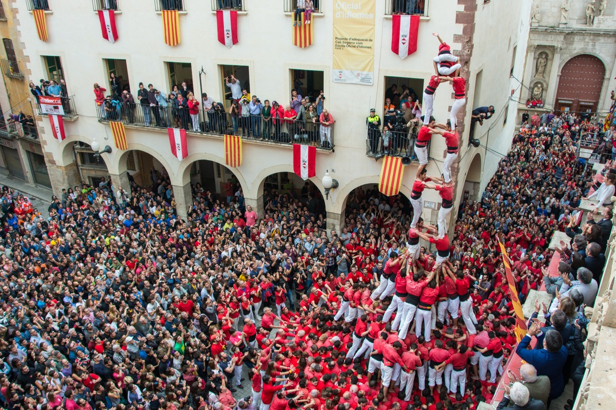Human tower created for Concurs de Castells in Spain