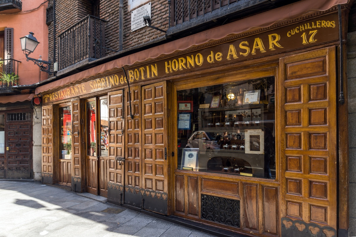 View of entrance to Sobrino de Botín in Madrid Spain