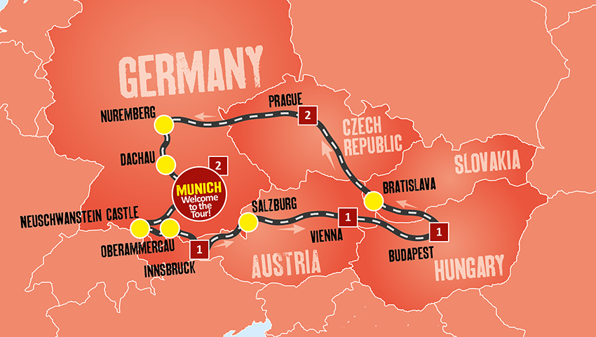 Eastern Europe Coach Tour Tours from Munich Expat Explore – Travel Map Of Eastern Europe